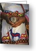 Madre Greeting Cards - A Traditionally Dressed Huichol Man Greeting Card by Maria Stenzel