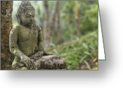 Asian Architecture And Art Greeting Cards - A Tranquil Seated Buddha Statue Greeting Card by Justin Guariglia
