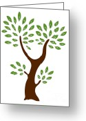 Gardening Drawings Greeting Cards - A Tree Greeting Card by Frank Tschakert