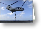 Warship Greeting Cards - A Trio Of Marines Fast Rope Greeting Card by Stocktrek Images