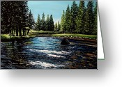 Pine Trees Painting Greeting Cards - A Trip to the Mountains Greeting Card by Elizabeth Robinette Tyndall