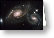 Twinkle Greeting Cards - A Triplet Of Galaxies Known As Arp 274 Greeting Card by Stocktrek Images