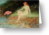Pond Painting Greeting Cards - A Trusting Moment Greeting Card by Frederick Stuart Church