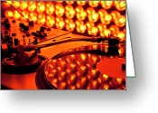 Lit Greeting Cards - A Turntable And Sound Mixer Illuminated By Lighting Equipment Greeting Card by Twins