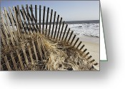 Sand Fences Photo Greeting Cards - A twisted arch of snow Greeting Card by Stephen St. John