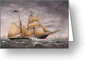 Eric Bellis Greeting Cards - A Two-masted Brigantine at Sea Greeting Card by Eric Bellis