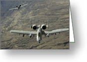 Gunship Greeting Cards - A Two-ship A-10 Thunderbolt Ii Greeting Card by Stocktrek Images