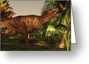 Animal Hunting Greeting Cards - A Tyrannosaurus Rex Runs Greeting Card by Corey Ford