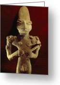 Ceramic Sculpture Greeting Cards - A Ubaid Terra-cotta Fiqure Dating Greeting Card by Lynn Abercrombie
