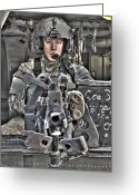 Armament Greeting Cards - A Uh-60 Black Hawk Door Gunner Manning Greeting Card by Terry Moore