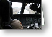 Control Greeting Cards - A Uh-60 Blackhawk Flies The River To An Greeting Card by Terry Moore