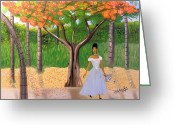 Nicole Jean-louis Greeting Cards - A une Dame Creole Greeting Card by Nicole Jean-Louis