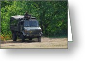 Belgian Army Greeting Cards - A Unimog Vehicle Of The Belgian Army Greeting Card by Luc De Jaeger