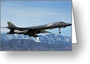 Us Air Force Greeting Cards - A U.s. Air Force B-1b Lancer Departs Greeting Card by Stocktrek Images