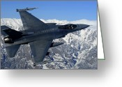 Fighter Jets Greeting Cards - A U.s. Air Force F-16 Fighting Falcon Greeting Card by Stocktrek Images