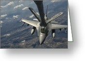 Air-to-air Greeting Cards - A U.s. Air Force F-16c Block 50 Greeting Card by Giovanni Colla