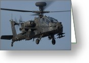 Gunship Greeting Cards - A U.s. Army Ah-64 Apache Helicopter Greeting Card by Stocktrek Images