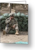 Transceiver Greeting Cards - A U.s. Army Soldier Talks On A Radio Greeting Card by Stocktrek Images