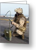 Transceiver Greeting Cards - A U.s. Marine Calls In A Simulated Greeting Card by Stocktrek Images