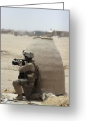Military Police Greeting Cards - A U.s. Marine Corps Combat Videographer Greeting Card by Stocktrek Images