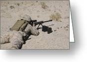 Laying Down Greeting Cards - A U.s. Marine Zeros His M107 Sniper Greeting Card by Stocktrek Images