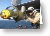 Paveway Greeting Cards - A U.s. Navy Pilot Examines A Gbu-12 Greeting Card by Stocktrek Images