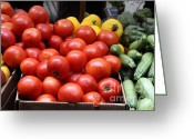 Green Artichoke Greeting Cards - A Variety of Fresh Tomatoes Zucchinis and Artichokes - 5D17818 Greeting Card by Wingsdomain Art and Photography