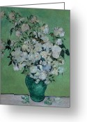 Post-impressionist Greeting Cards - A Vase of Roses Greeting Card by Vincent van Gogh
