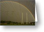 Hues Greeting Cards - A Vast Array Of Electrical Towers Greeting Card by Jason Edwards
