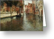 Medieval Architecture Greeting Cards - A Venetian Backwater  Greeting Card by Fritz Thaulow