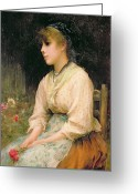 Holding Flower Greeting Cards - A Venetian Flower Girl Greeting Card by Sir Samuel Luke Fildes