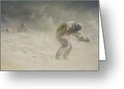 Snow Storm Greeting Cards - A very gallant gentleman Greeting Card by John Charles Dollman