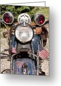 Motorcycle Photo Greeting Cards - A very Old Indian Harley-Davidson Greeting Card by James Bo Insogna