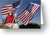 Veteran Photography Greeting Cards - A Veteran Shows His Patriotism Greeting Card by Stocktrek Images