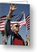 Veteran Photography Greeting Cards - A Veteran Waves To Members Of Macdill Greeting Card by Stocktrek Images