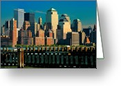 Battery Park Greeting Cards - A View From Hoboken Greeting Card by Chris Lord