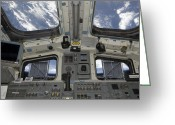 Control Greeting Cards - A View From Inside The Flight Deck Greeting Card by Stocktrek Images