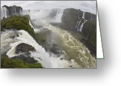 Trees And Rock Cliffs Greeting Cards - A View From The Edge Of The Iguacu Greeting Card by Mike Theiss
