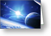 Mystery Digital Art Greeting Cards - A View Of A Planet As It Looms In Close Greeting Card by Kevin Lafin