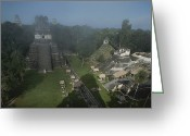 Mayan Art Greeting Cards - A View Of Mayan Ruins At Tikal Greeting Card by Kenneth Garrett