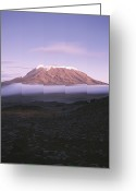 Volcanic Greeting Cards - A View Of Snow-capped Mount Kilimanjaro Greeting Card by David Pluth