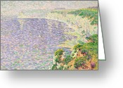 Pointillist Painting Greeting Cards - A View of the Cliffs of Etretat Greeting Card by Claude Emile Schuffenecker