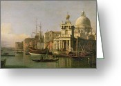 Merchant Greeting Cards - A view of the Dogana and Santa Maria della Salute Greeting Card by Antonio Canaletto