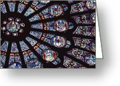 Medieval Architecture Greeting Cards - A View Of The Famed Rose Window Greeting Card by Carsten Peter