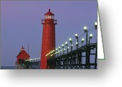 Midwestern States Greeting Cards - A View Of The Grand Haven Lighthouse Greeting Card by Ira Block