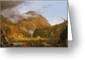 Cole Painting Greeting Cards - A View of the Mountain Pass Called the Notch of the White Mountains Greeting Card by Thomas Cole