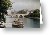 Walkways Greeting Cards - A View Of The River And A Bridge Greeting Card by Gervais Courtellemont