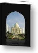 Asian Architecture And Art Greeting Cards - A View Of The Taj Mahal Framed Greeting Card by Ed George