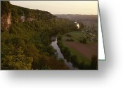 River Scenes Greeting Cards - A View Of The Vezere River Valley Greeting Card by Kenneth Garrett