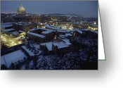 City Lights And Lighting Greeting Cards - A View Of Vatican City In The Snow.  It Greeting Card by James L. Stanfield